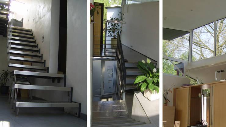 Maison sur un talus: Couloir et hall d'entrée de style  par VORTEX atelier d'architecture