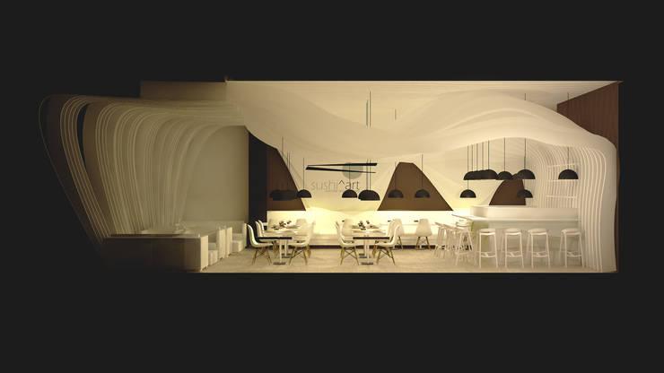 Sushi Restaurant: Salas de jantar  por Antony Simões Studio