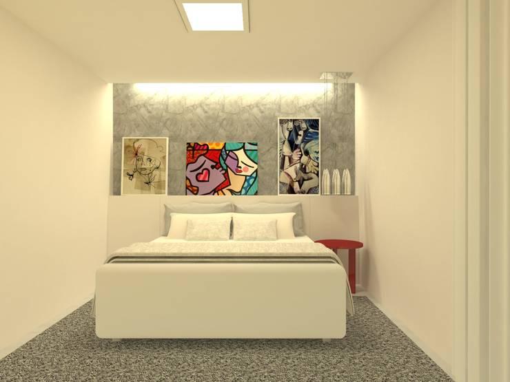 Projeto de interiores em  Casa no setor Jaó, em Goiânia-GO: Quartos  por Beatrice Oliveira - Tricelle Home, Decor e Design