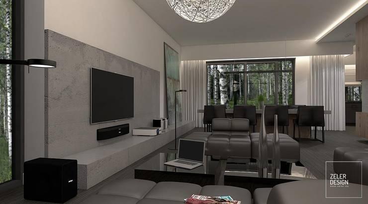 Prosta przestrzeń - salon i jadalnia: styl , w kategorii Salon zaprojektowany przez Zeler Design