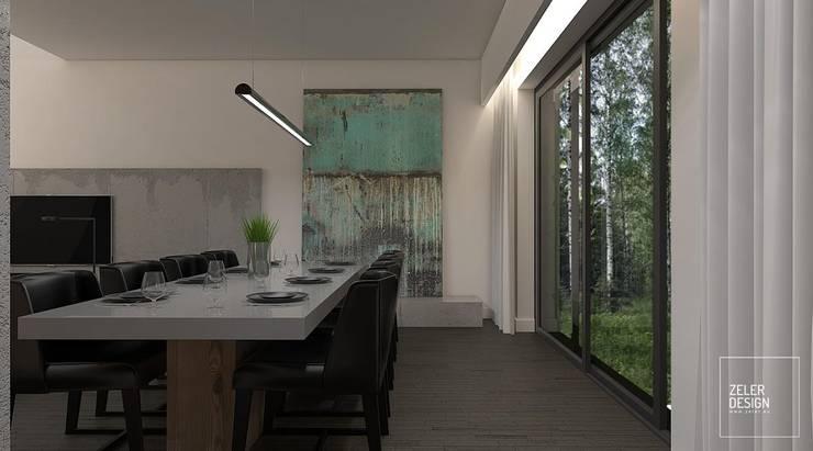 Prosta przestrzeń - salon i jadalnia: styl , w kategorii Jadalnia zaprojektowany przez Zeler Design