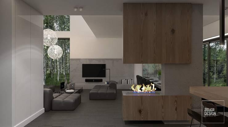 Prosta przestrzeń - salon, jadalnia i kuchnia: styl , w kategorii Salon zaprojektowany przez Zeler Design