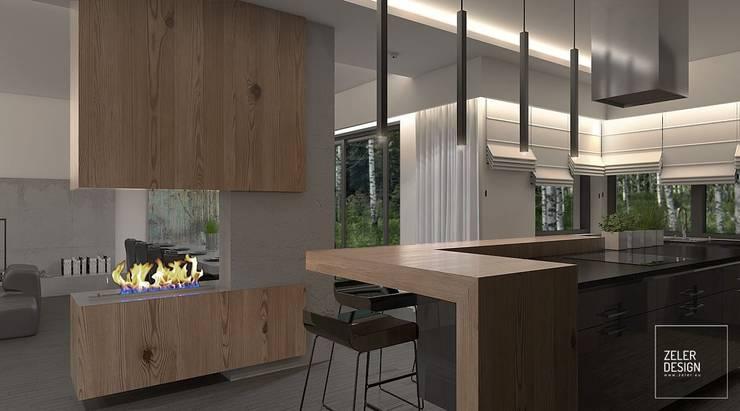 Prosta przestrzeń - salon, jadalnia i kuchnia: styl , w kategorii Kuchnia zaprojektowany przez Zeler Design