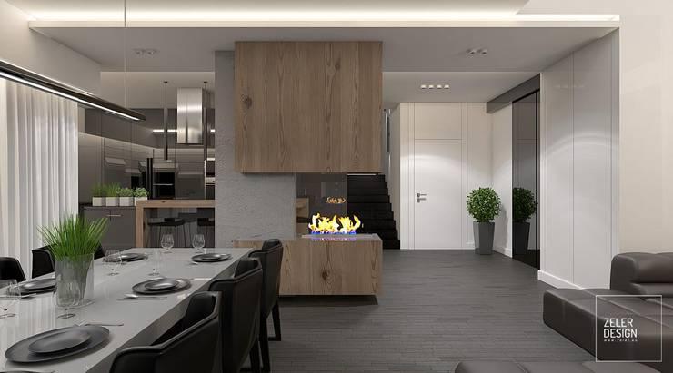 Prosta przestrzeń - kuchnia, jadalnia, holl: styl , w kategorii Jadalnia zaprojektowany przez Zeler Design