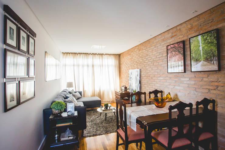 Apartamento - S.B.Campo: Salas de jantar  por Carmen Anjos Arquitetura Ltda.,Eclético Madeira maciça Multi colorido