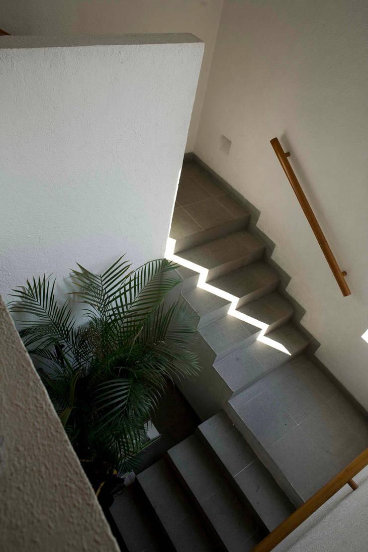 Casa Tepepan : Pasillos y recibidores de estilo  por José Vigil Arquitectos