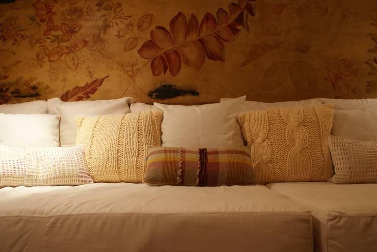 Sala de TV de Al Hilo Ecléctico Textil Ámbar/Dorado