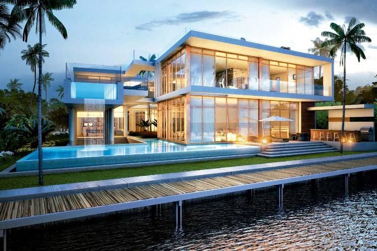 H2 + KUBIK, MIAMI, FLORIDA: Casas de estilo moderno por Kubik Lab