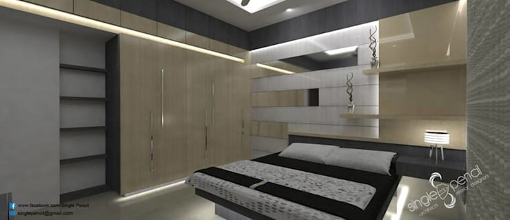 Ratna prabhu: modern Bedroom by single pencil architects & interior designers