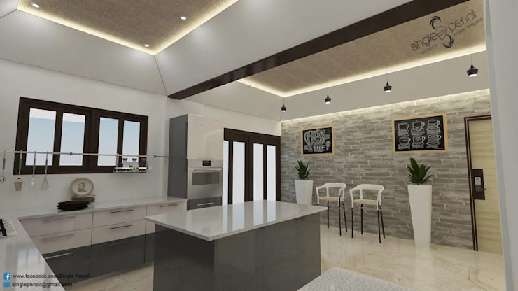 naveen residence:  Kitchen by single pencil architects & interior designers