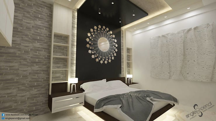naveen residence:  Bedroom by single pencil architects & interior designers