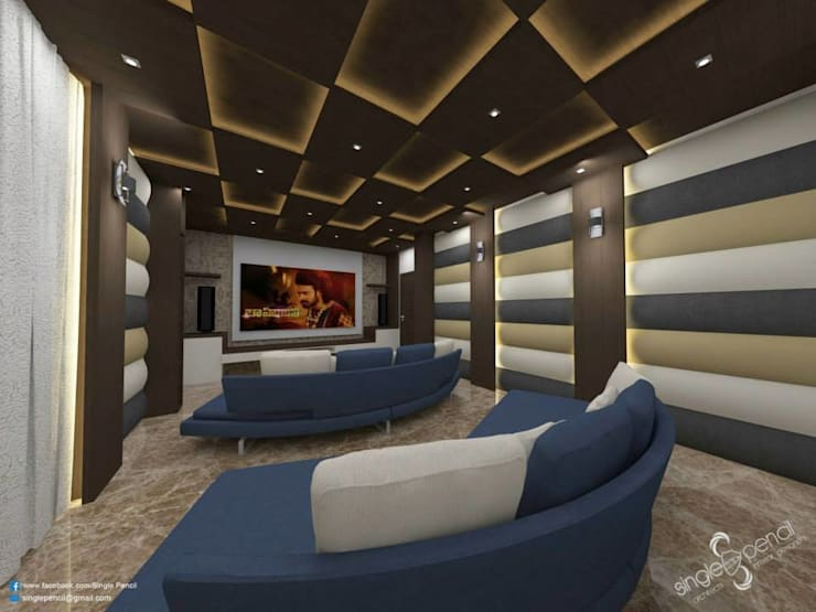 Prabhakar: modern Media room by single pencil architects & interior designers