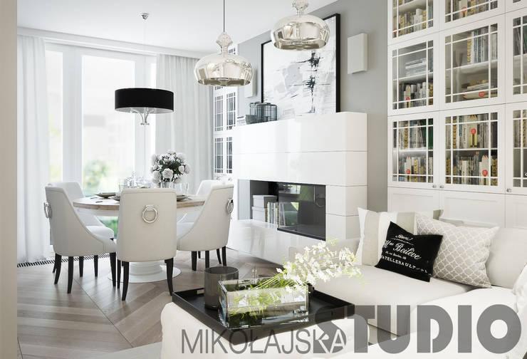 salon-biały: styl , w kategorii  zaprojektowany przez MIKOŁAJSKAstudio