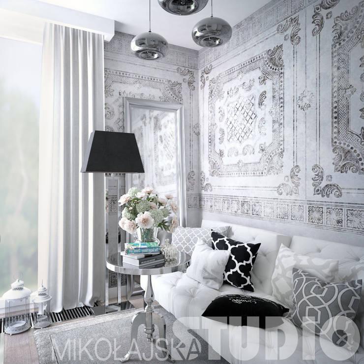pokój gościnny: styl , w kategorii  zaprojektowany przez MIKOŁAJSKAstudio