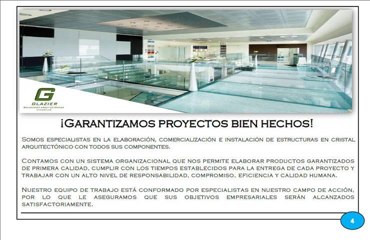 Productos y Proyectos Arquitectónicos: Espacios comerciales de estilo  por Glazier Soluciones Arquitectónicas Integrales