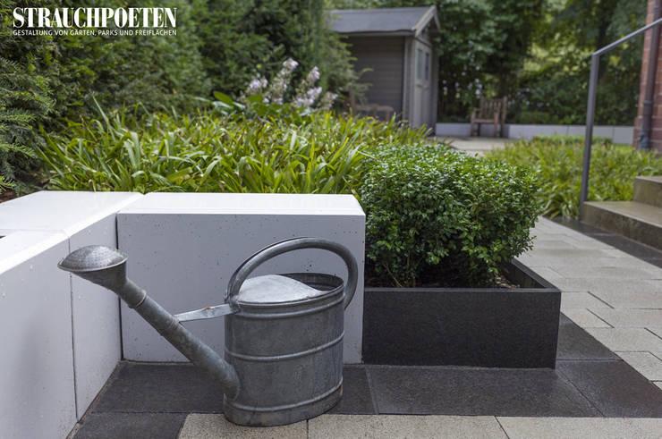 Minimalistisch eingefasster Vorgarten mit massgefertigten Betonplatten, Basanit und Luzula-Formbuchs-Bepflanzung:  Garten von Strauchpoeten