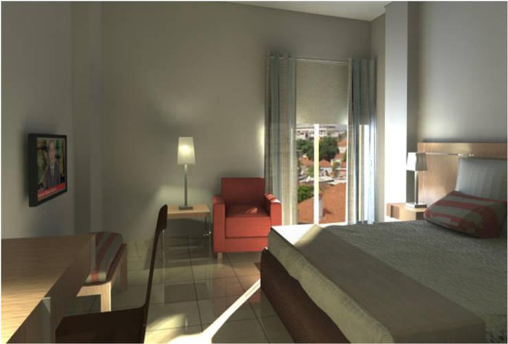 Guest House : Quartos  por Joana Neto   Interiores