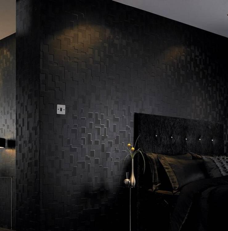 Papel de parede Wallpaper www.intense-mobiliario.com  Checker http://intense-mobiliario.com/product.php?id_product=4355: Quarto  por Intense mobiliário e interiores;