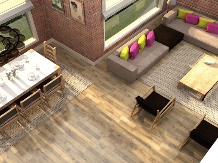 Update İç Mimarlık – Emre & Cansu Evi:  tarz Oturma Odası, Eklektik