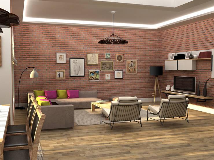 Update İç Mimarlık – Emre & Cansu Evi:  tarz Oturma Odası, Eklektik Tuğla