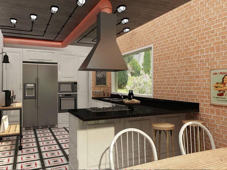 Update İç Mimarlık – Emre & Cansu Evi:  tarz Mutfak, Eklektik Tuğla
