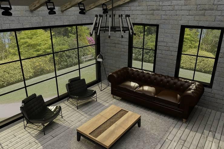 Update İç Mimarlık – Emre & Cansu Evi:  tarz Oturma Odası, Endüstriyel
