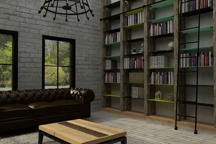 Update İç Mimarlık – Emre & Cansu Evi:  tarz Oturma Odası, Endüstriyel Ahşap Ahşap rengi