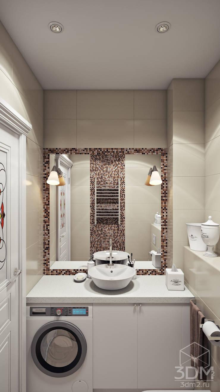 Проект 021: ванная + спальня + кабинет: Ванные комнаты в . Автор – студия визуализации и дизайна интерьера '3dm2', Минимализм