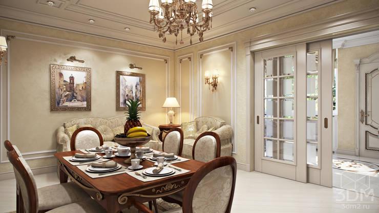 Проект 023: кухня + столовая + зимний сад: Столовые комнаты в . Автор – студия визуализации и дизайна интерьера '3dm2',