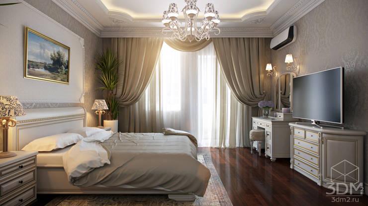 غرفة نوم تنفيذ студия визуализации и дизайна интерьера '3dm2'
