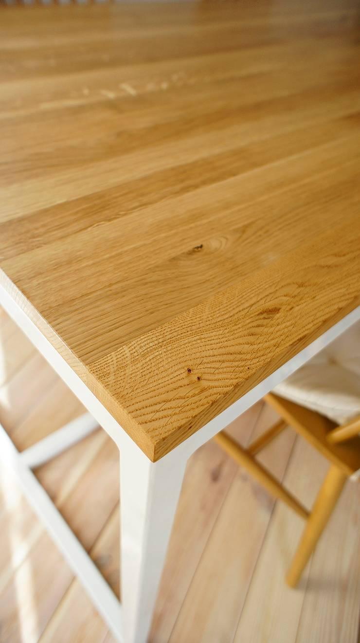 Stół, biurko, Industrial White Oak: styl , w kategorii Jadalnia zaprojektowany przez projekt drewno