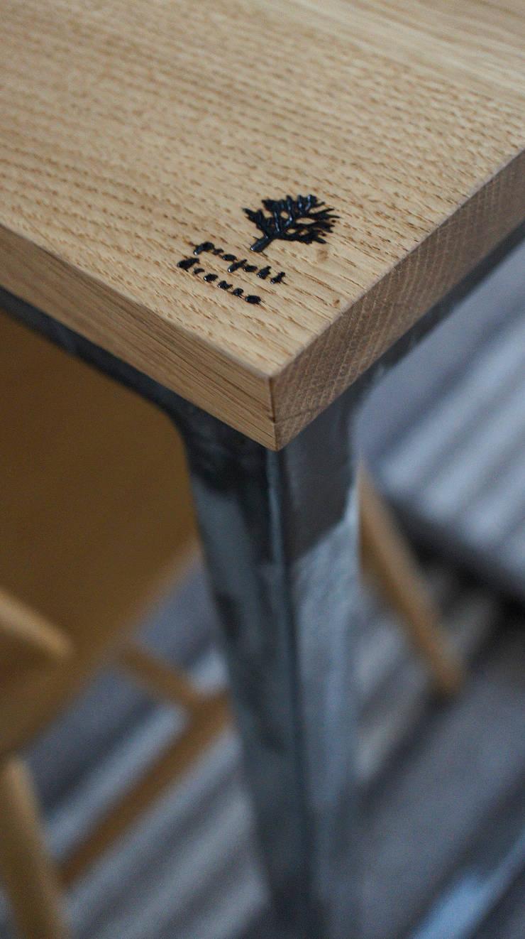 Stół, biurko, Industrial Dining Oak: styl , w kategorii Domowe biuro i gabinet zaprojektowany przez projekt drewno,