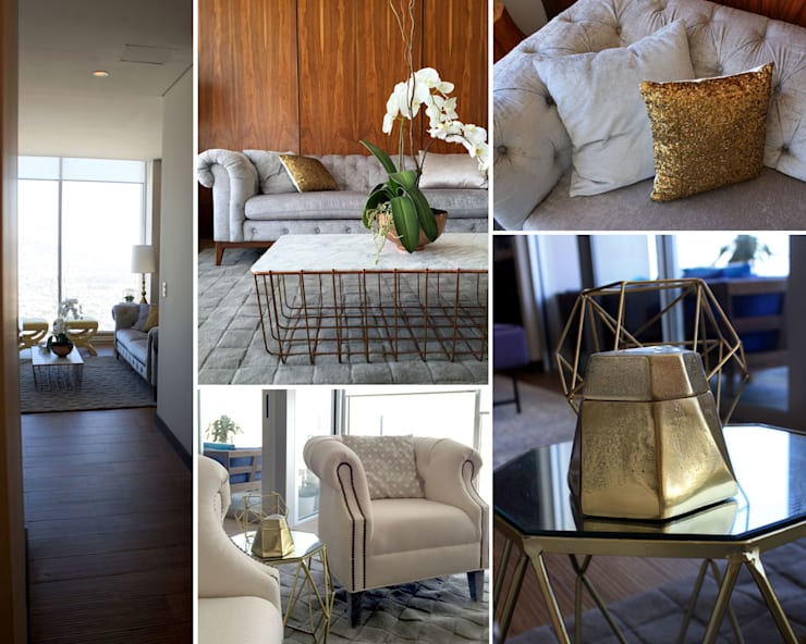 Depto Levant : Salas de estilo  por Nomada Design Studio