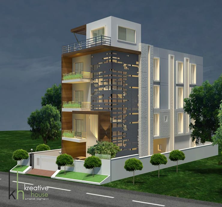A DREAM HOME FOR AN INDIAN FAMILY (South West View): modern Houses by KREATIVE HOUSE