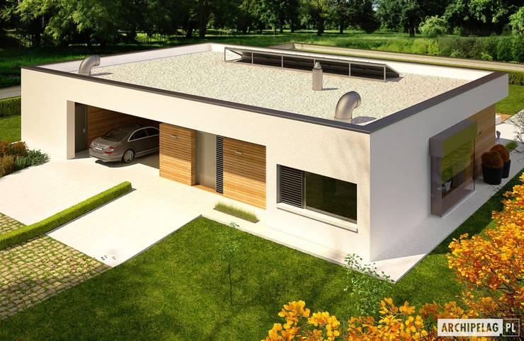 PROJEKT DOMU EX 7 (z wiatą)  : styl , w kategorii Domy zaprojektowany przez Pracownia Projektowa ARCHIPELAG,