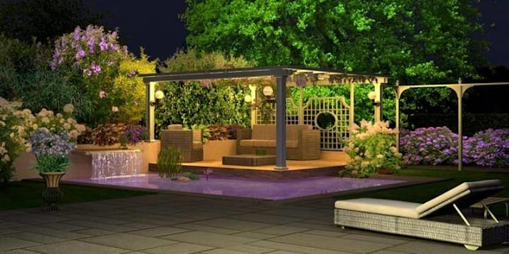 Jardines Nocturnos: Jardines de estilo  por Akasha espacios iluminados