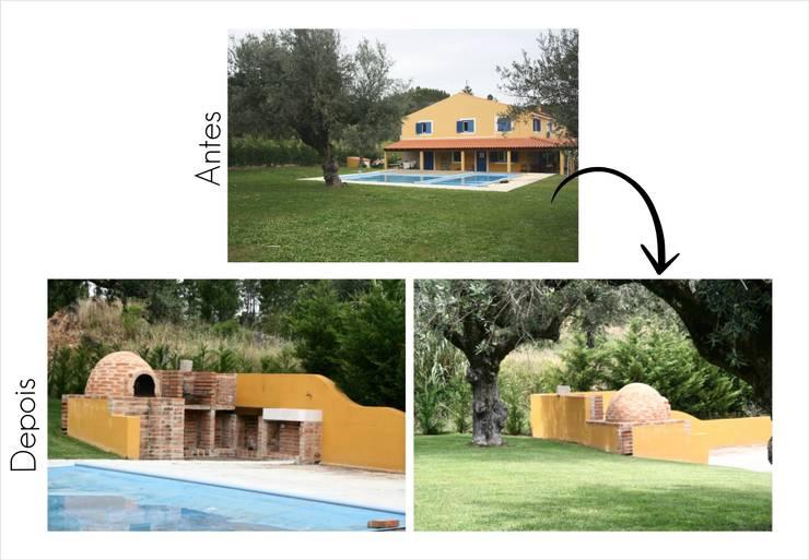 Espaço para churrasqueira e forno de Pão:   por Jorge Feio, Arquitecto