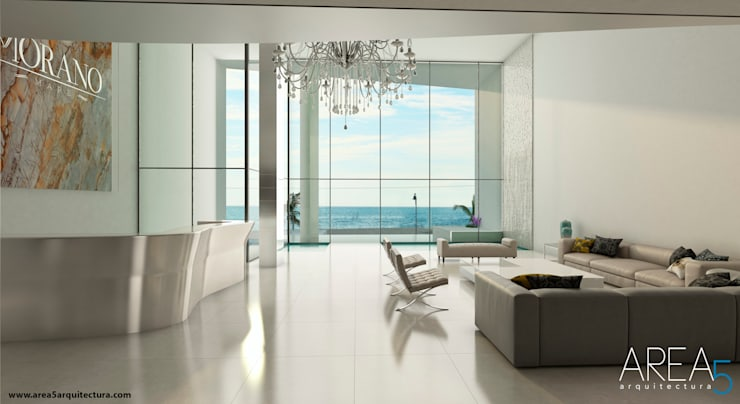 Morano Mare - Lobby de Acceso Pasillos, vestíbulos y escaleras de estilo moderno de Area5 arquitectura SAS Moderno