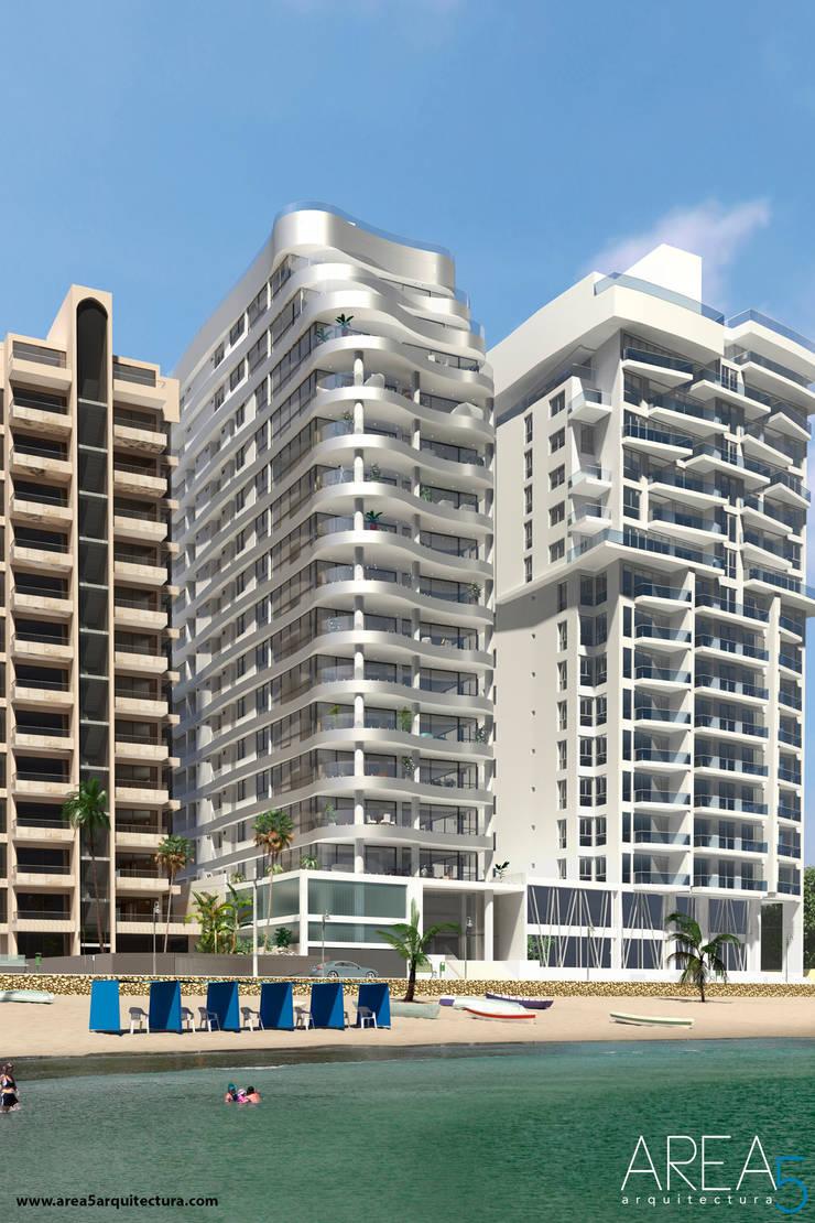 Morano Mare - Fachada Balcones y terrazas de estilo moderno de Area5 arquitectura SAS Moderno