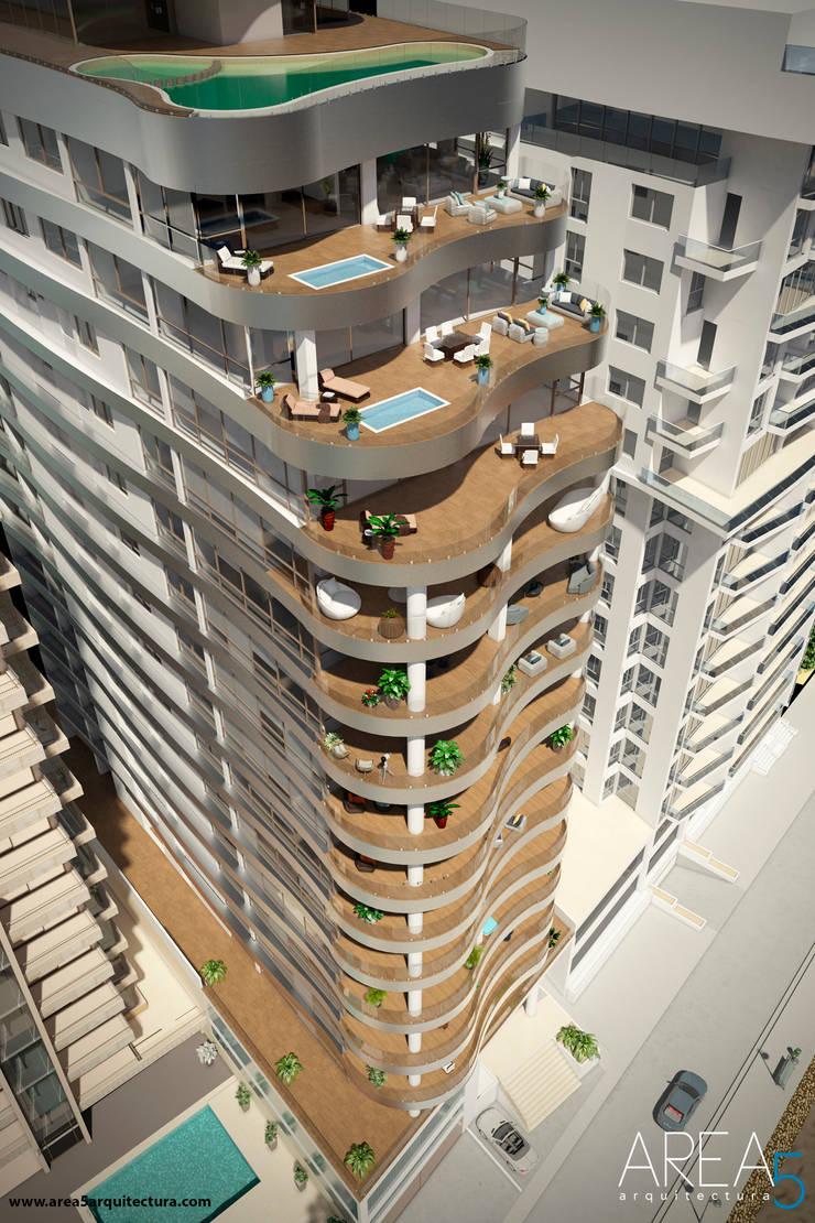 Morano Mare - Diseño de terrazas Balcones y terrazas de estilo moderno de Area5 arquitectura SAS Moderno Cerámico