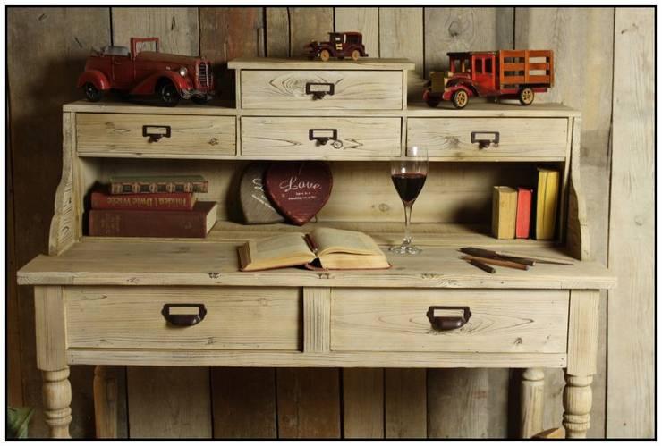 230 Duże BIURKO z szufladami SEKRETARZYK Vintage LITE DREWNO: styl , w kategorii  zaprojektowany przez Natural Art Deco Wioletta Plichta,Klasyczny