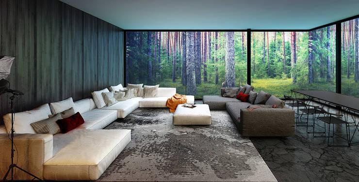Projekty,  Salon zaprojektowane przez ALEXANDER ZHIDKOV ARCHITECT