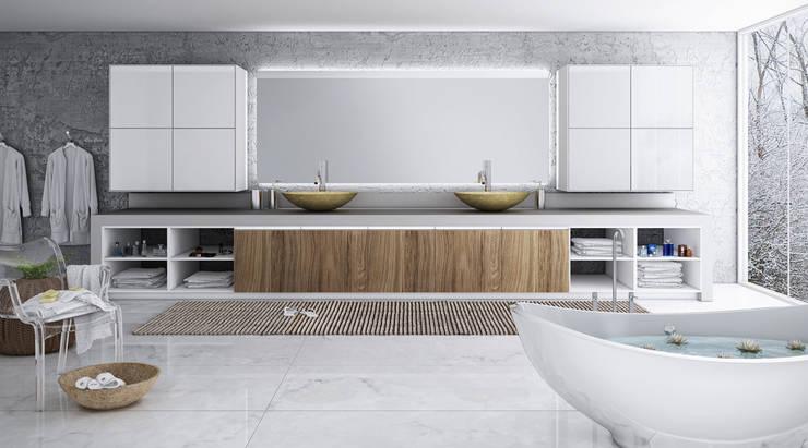 Baños de estilo  por Balaroti Móveis para sua Vida