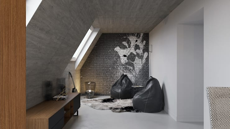 Salas multimedia de estilo industrial por Aleksandra  Kostyuchkova