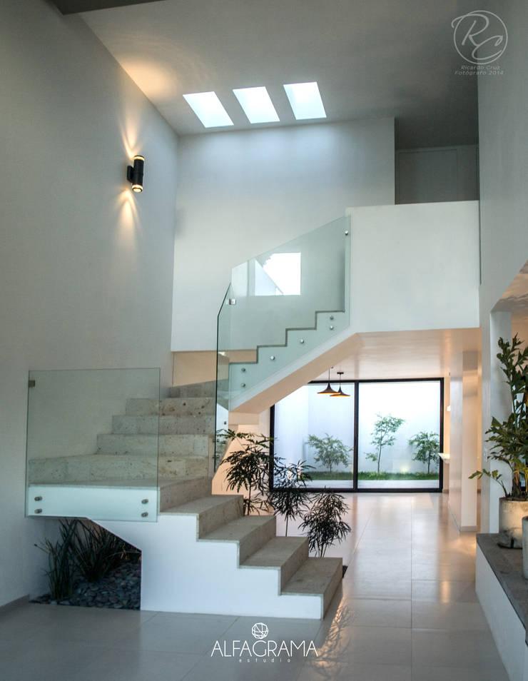Escaleras y área de comedor: Pasillos y recibidores de estilo  por Alfagrama estudio