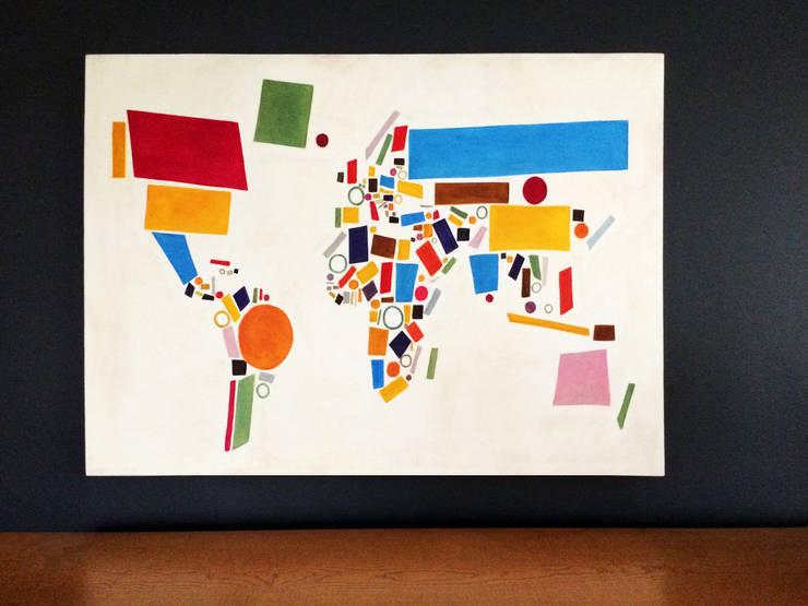 PAINTBYMGB – Yağlıboya dünya haritası:  tarz İç Dekorasyon