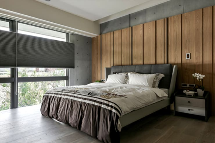 [HOME] PJ Design 인더스트리얼 침실 by KD Panels 인더스트리얼 우드 우드 그레인