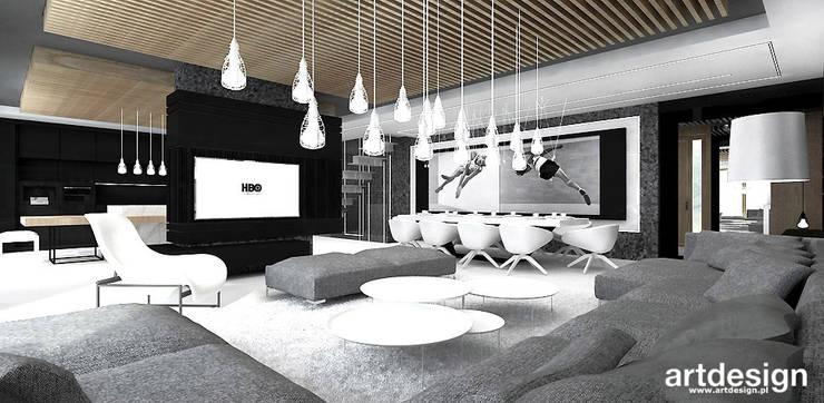 nowoczesna aranżacja salonu z jadalnią: styl , w kategorii Salon zaprojektowany przez ARTDESIGN architektura wnętrz