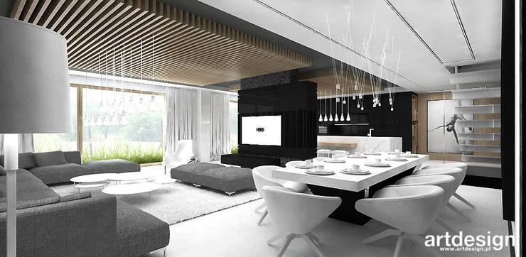 salon i jadalnia: styl , w kategorii Salon zaprojektowany przez ARTDESIGN architektura wnętrz