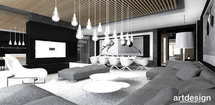 nowoczesne wnętrze salonu i jadalni: styl , w kategorii Salon zaprojektowany przez ARTDESIGN architektura wnętrz